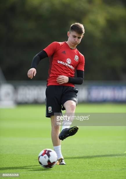 Ben Woodburn of Wales in action during Wwales training ahead of their World Cup Qualifiers at Vale Hotel on October 2 2017 in Cardiff Wales