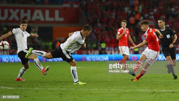 Ben Woodburn of Wales scores their first goal during the FIFA 2018 World Cup Qualifier between Wales and Austria at Cardiff City Stadium on September...