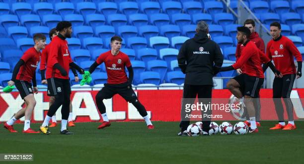 Ben Woodburn warms up during the Wales Press Conference and Training Session at The Cardiff City Stadium on November 13 2017 in Cardiff Wales