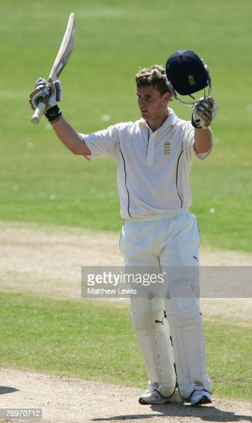 Ben Wright of England celebrates his century during the First International Test match between England U19's and Pakistan U19's at Scarborough...