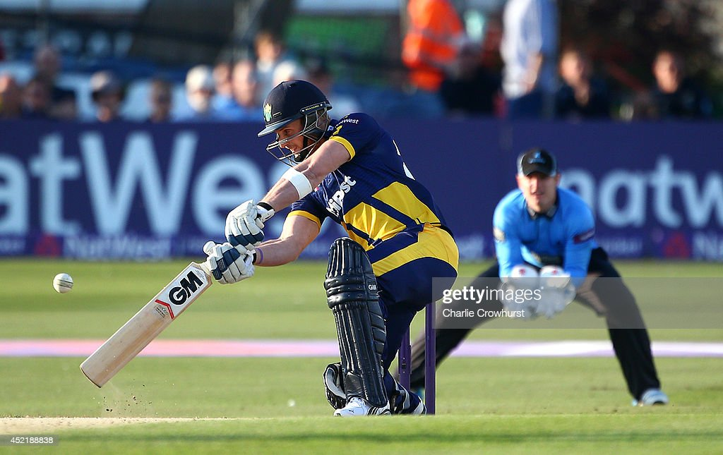 Ben Wright of Glamorgan hits out during the Natwest T20 Blast match between Sussex Sharks and Glamorgan at The BrightonAndHoveJobs.com County Ground on July 15, 2014 in Hove, England.