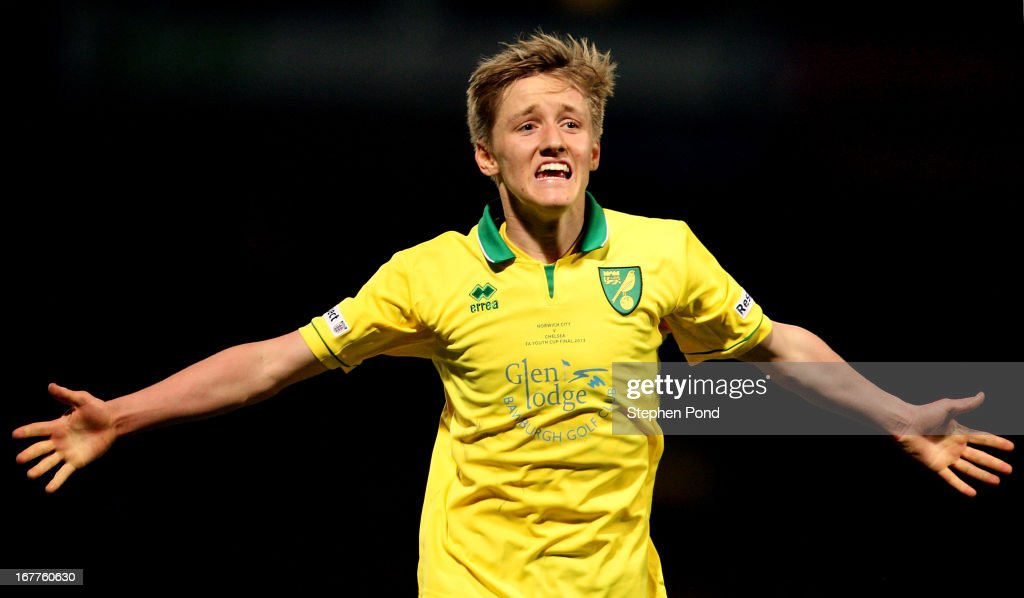 Ben Wyatt of Norwich City celebrates during the FA Youth Cup Final First Leg match between Norwich City and Chelsea at Carrow Road on April 29, 2013 in Norwich, England.