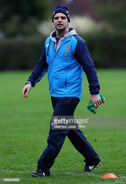 Ben Young Strength and Conditioner Coach of England U18's in action during a training session at Loughborough University on November 1 2013 in...