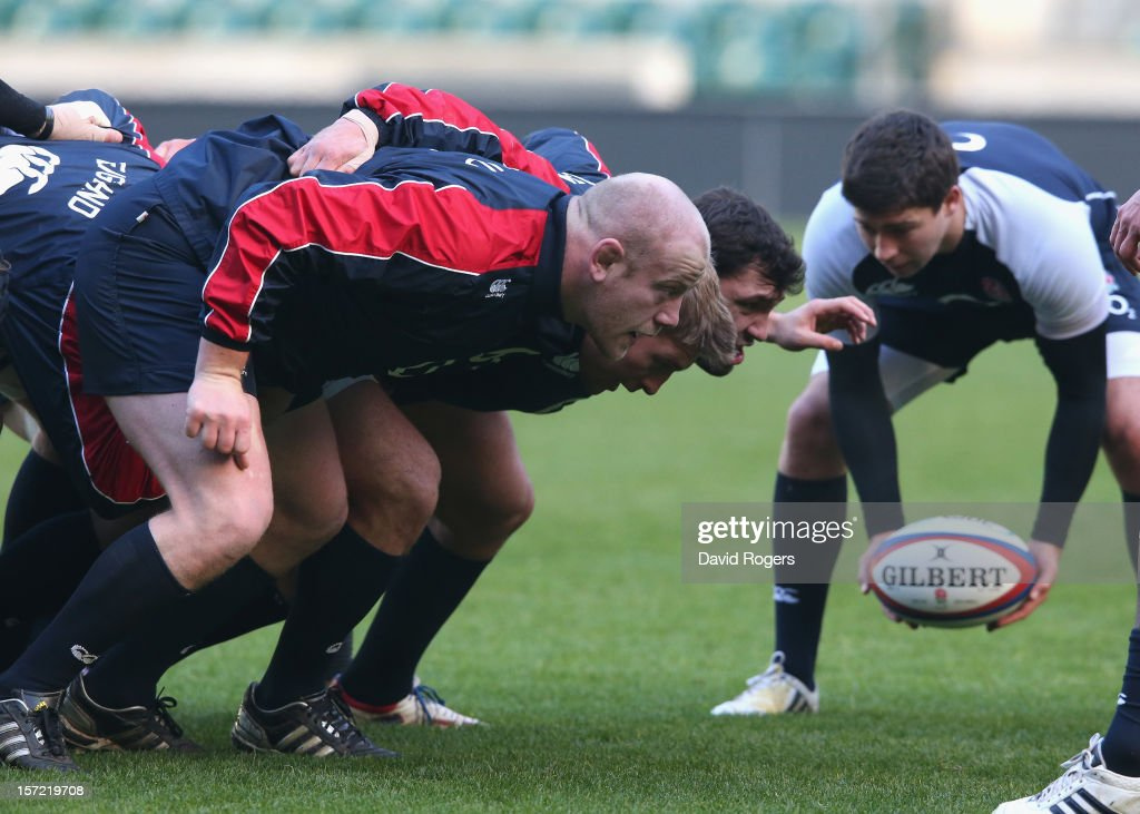 Ben Youngs, (R) feeds the ball into the England front row during the England captain's run at Twickenham Stadium on November 30, 2012 in London, England.