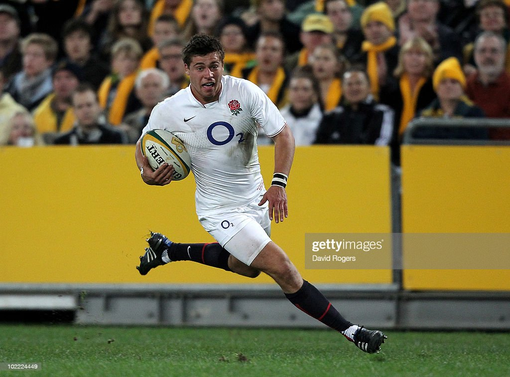 <a gi-track='captionPersonalityLinkClicked' href=/galleries/search?phrase=Ben+Youngs&family=editorial&specificpeople=3970947 ng-click='$event.stopPropagation()'>Ben Youngs</a>, of England breaks away to score the first try during the Cook Cup Test Match between the Australian Wallabies and England at ANZ Stadium on June 19, 2010 in Sydney, Australia.