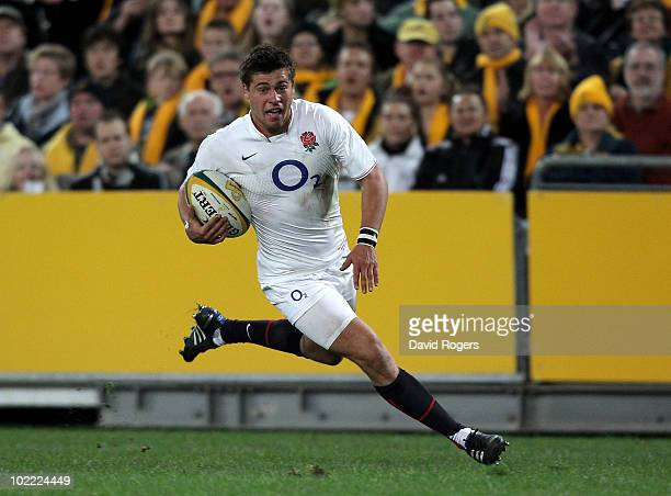 Ben Youngs of England breaks away to score the first try during the Cook Cup Test Match between the Australian Wallabies and England at ANZ Stadium...