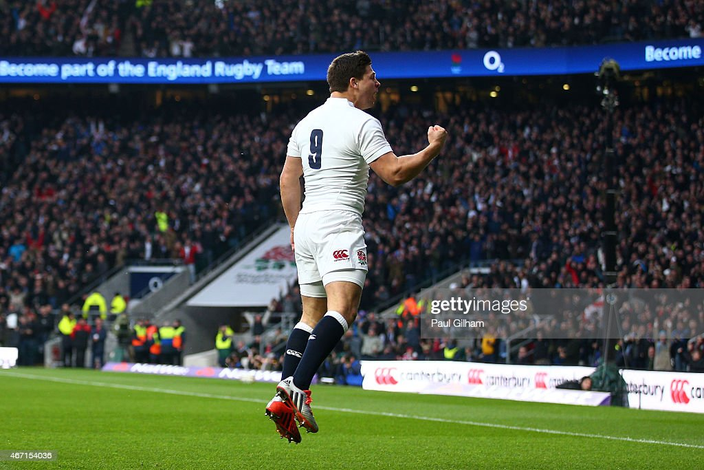 <a gi-track='captionPersonalityLinkClicked' href=/galleries/search?phrase=Ben+Youngs&family=editorial&specificpeople=3970947 ng-click='$event.stopPropagation()'>Ben Youngs</a> of England celebrates after scoring his team's first try during the RBS Six Nations match between England and France at Twickenham Stadium on March 21, 2015 in London, England.