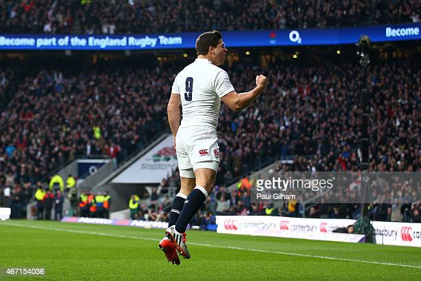 Ben Youngs of England celebrates after scoring his team's first try during the RBS Six Nations match between England and France at Twickenham Stadium...
