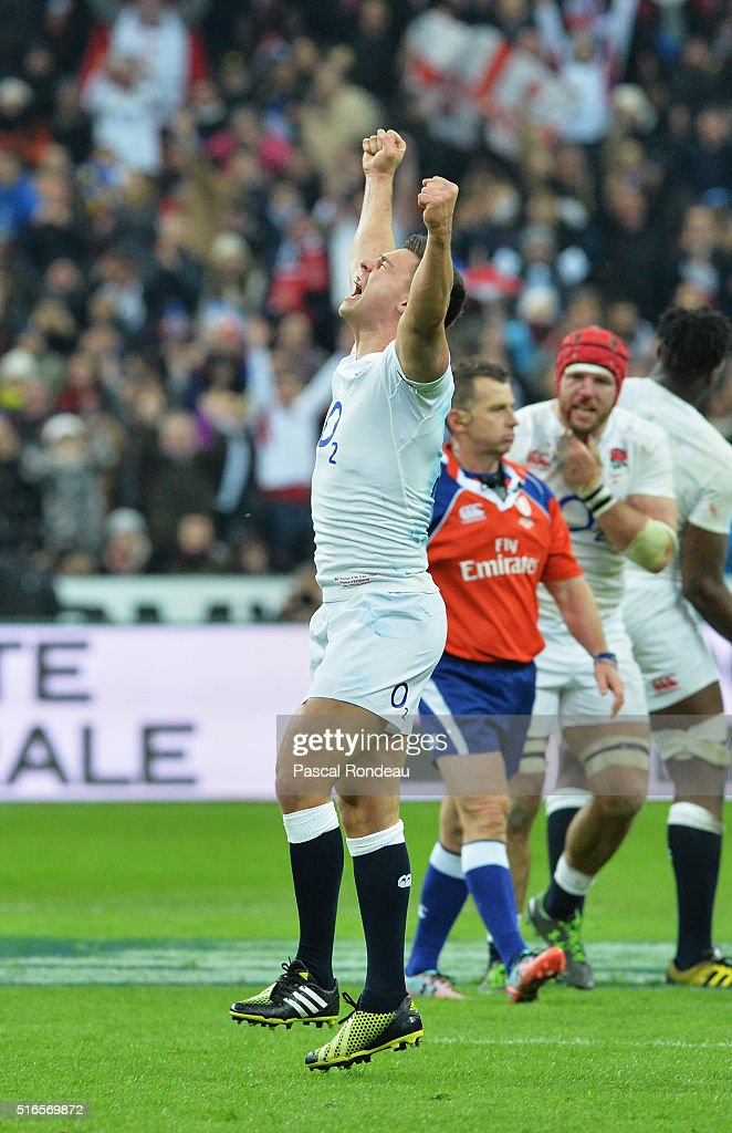 Ben Youngs of England celebrates after winning the RBS Six Nations and the Grand Slam during the RBS Six Nations match between France and England at Stade de France on March 19, 2016 in Paris, France.