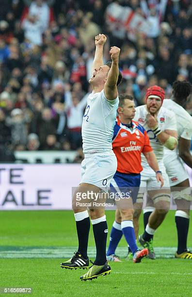 Ben Youngs of England celebrates after winning the RBS Six Nations and the Grand Slam during the RBS Six Nations match between France and England at...
