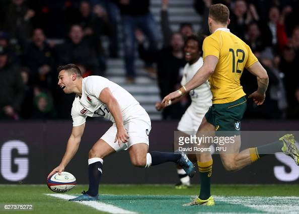 Ben Youngs of England celebrates as he scores his sides third try during the Old Mutual Wealth Series match between England and Australia at...