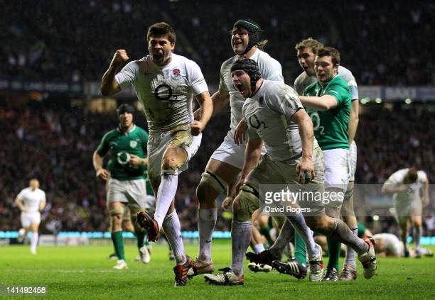 Ben Youngs of England celebrates his try with team mates during the RBS 6 Nations match between England and Ireland at Twickenham Stadium on March 17...
