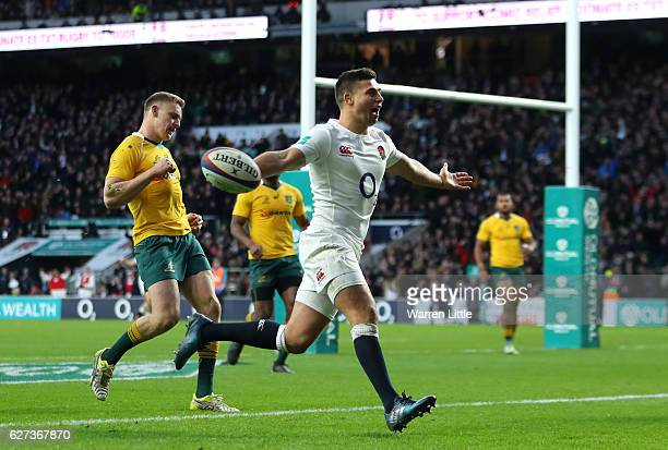 Ben Youngs of England celebrates scoring his sides third try during the Old Mutual Wealth Series match between England and Australia at Twickenham...
