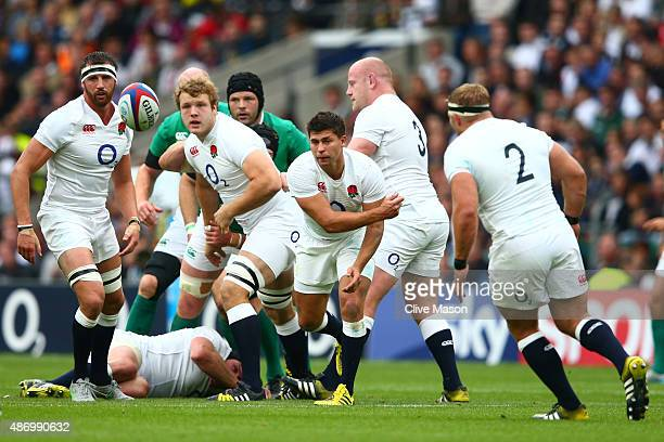 Ben Youngs of England dispatches the ball during the QBE International match between England and Ireland at Twickenham Stadium on September 5 2015 in...