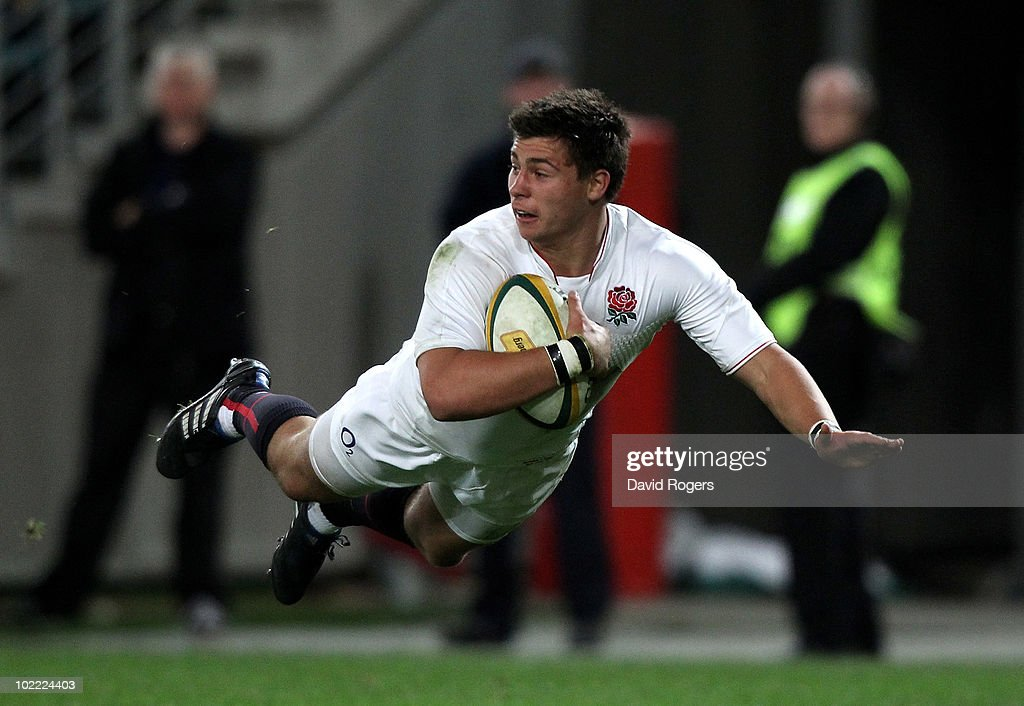 <a gi-track='captionPersonalityLinkClicked' href=/galleries/search?phrase=Ben+Youngs&family=editorial&specificpeople=3970947 ng-click='$event.stopPropagation()'>Ben Youngs</a>, of England dives to score the first try during the Cook Cup Test Match between the Australian Wallabies and England at ANZ Stadium on June 19, 2010 in Sydney, Australia.