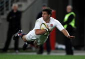 Ben Youngs of England dives to score the first try during the Cook Cup Test Match between the Australian Wallabies and England at ANZ Stadium on June...