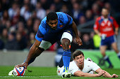 Ben Youngs of England fails to stop Noa Nakaitaci of France touching the ball down to score his team's second try during the RBS Six Nations match...