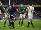 Ben Youngs of England is sent off by referee Bryce Lawrence during the RBS 6 Nations match between Ireland and England at the Aviva Stadium March 19...