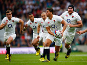 Ben Youngs of England leads an attack during the QBE International match between England and Ireland at Twickenham Stadium on September 5 2015 in...