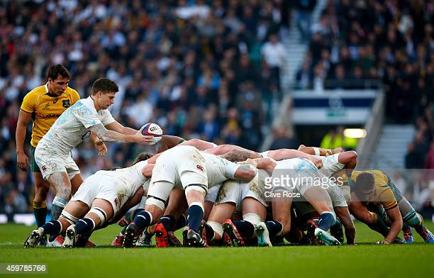 Ben Youngs of England prepares to put the ball in at a scrummage during the QBE international match between England and Australia at Twickenham...