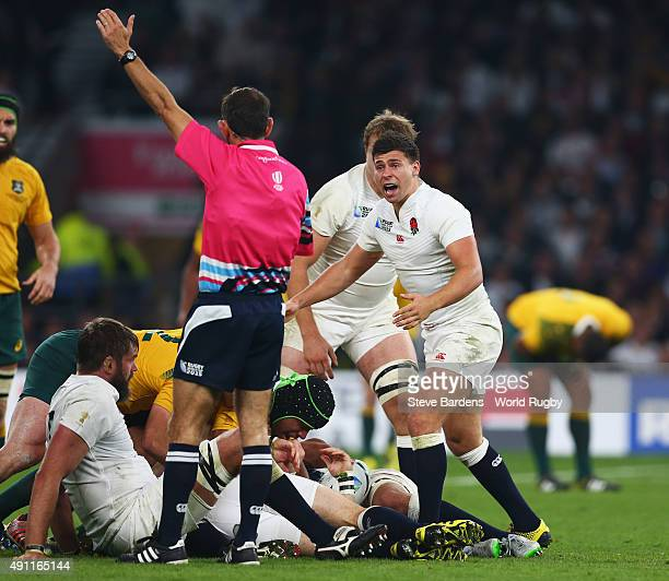 Ben Youngs of England reacts with referee Romain Poite during the 2015 Rugby World Cup Pool A match between England and Australia at Twickenham...