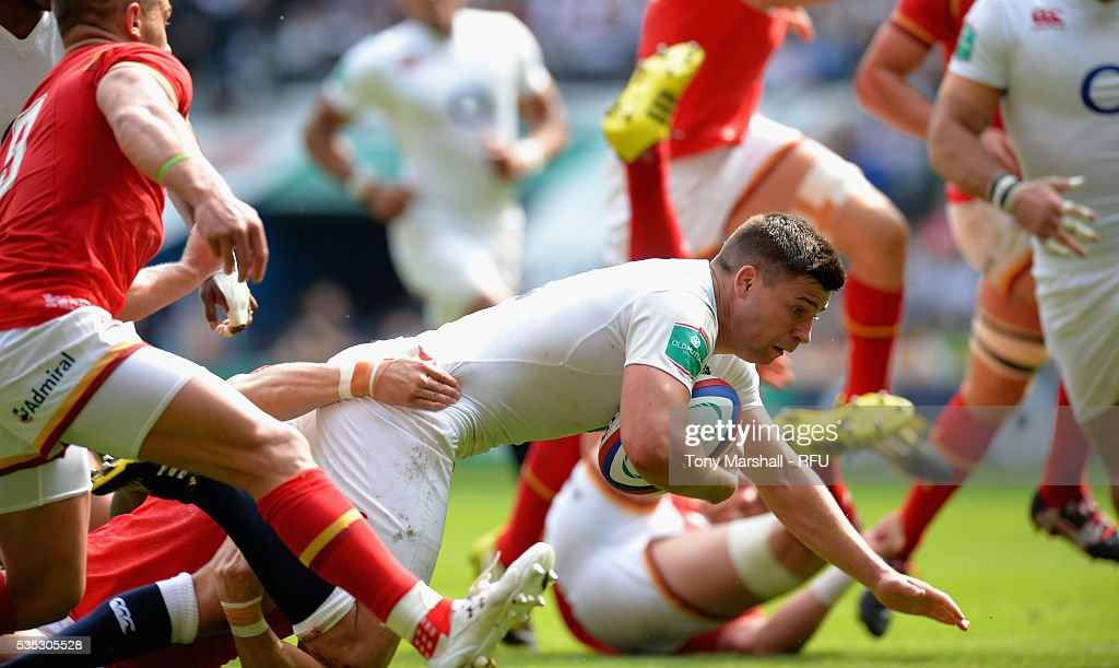 <a gi-track='captionPersonalityLinkClicked' href=/galleries/search?phrase=Ben+Youngs&family=editorial&specificpeople=3970947 ng-click='$event.stopPropagation()'>Ben Youngs</a> of England scores a try during the Old Mutual Wealth Cup between England and Wales at Twickenham Stadium on May 29, 2016 in London, England.