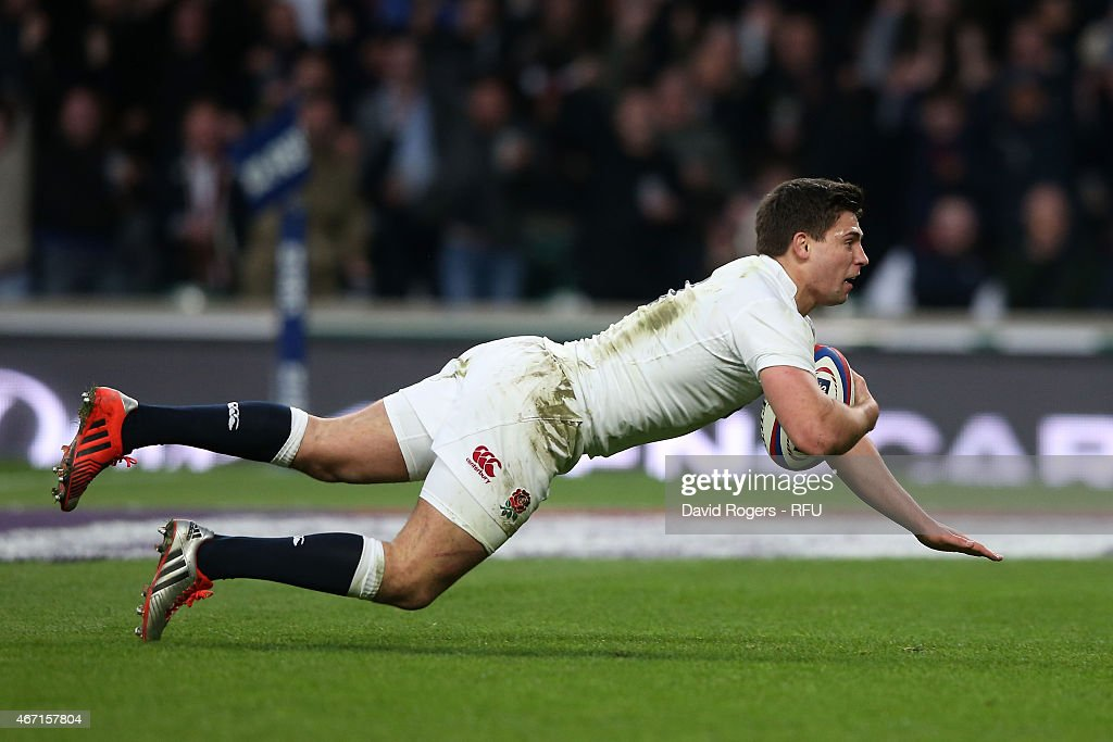 <a gi-track='captionPersonalityLinkClicked' href=/galleries/search?phrase=Ben+Youngs&family=editorial&specificpeople=3970947 ng-click='$event.stopPropagation()'>Ben Youngs</a> of England scores England's third try during the RBS Six Nations match between England and France at Twickenham Stadium on March 21, 2015 in London, England.