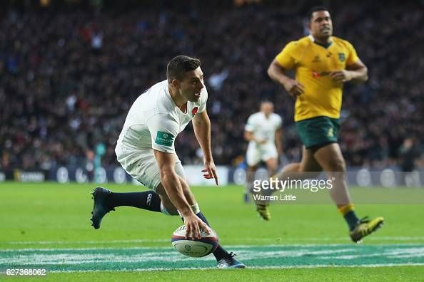 Ben Youngs of England scores his sides third try during the Old Mutual Wealth Series match between England and Australia at Twickenham Stadium on...