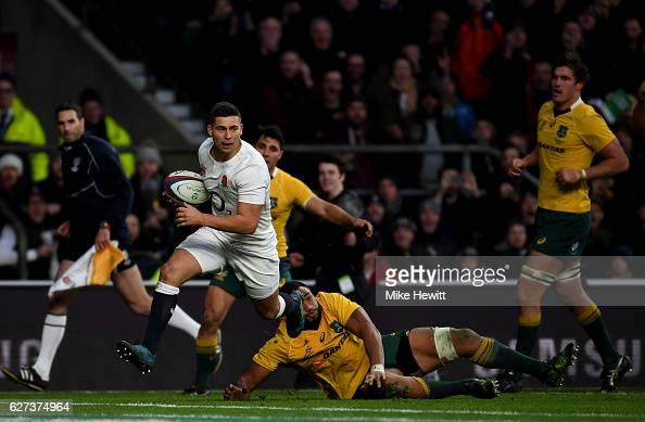 Ben Youngs of England scores his sides third try while Sekope Kepu of Australia attempts to stop him during the Old Mutual Wealth Series match...