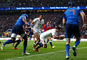 Ben Youngs of England scores his team's first try during the RBS Six Nations match between England and France at Twickenham Stadium on March 21 2015...