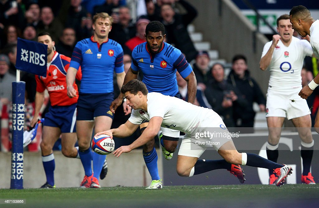 <a gi-track='captionPersonalityLinkClicked' href=/galleries/search?phrase=Ben+Youngs&family=editorial&specificpeople=3970947 ng-click='$event.stopPropagation()'>Ben Youngs</a> of England scores his team's first try during the RBS Six Nations match between England and France at Twickenham Stadium on March 21, 2015 in London, England.