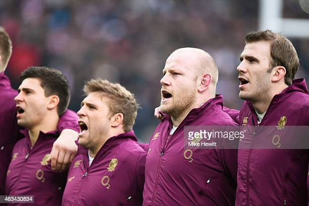 Ben Youngs of England Tom Youngs of England Dan Cole of England and Tom Croft of England sing the national anthem prior to kickoff during the RBS Six...