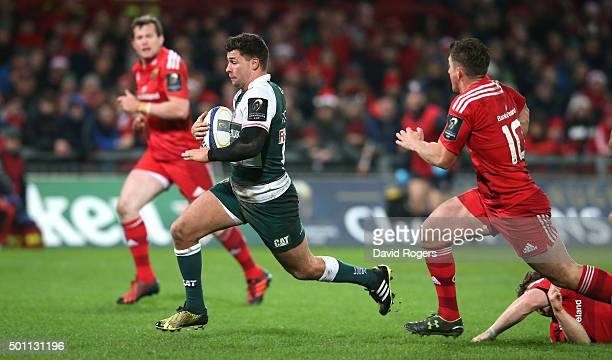 Ben Youngs of Leicester breaks clear to score their third try during the European Rugby Champions Cup match between Munster and Leicester Tigers at...