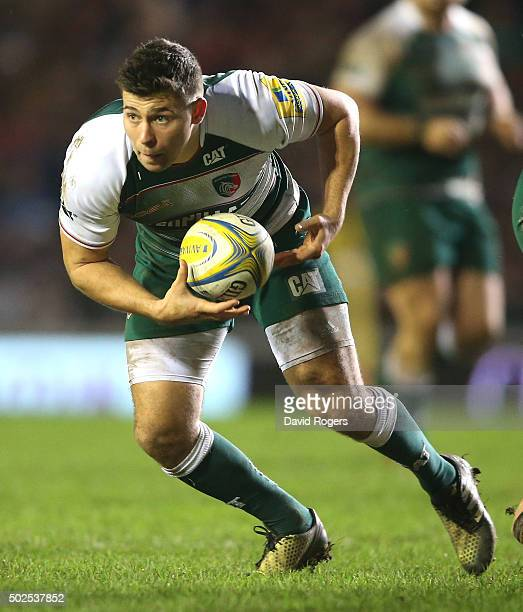 Ben Youngs of Leicester breaks with the ball during the Aviva Premiership match between Leicester Tigers and Newcastle Falcons at Welford Road on...