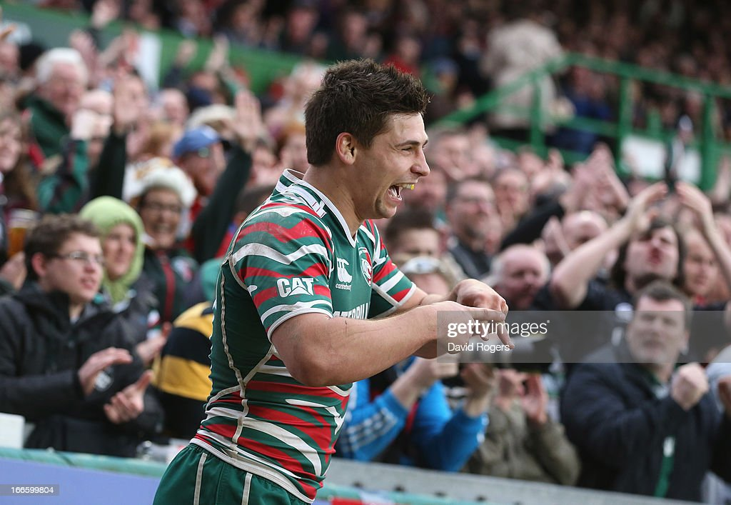 <a gi-track='captionPersonalityLinkClicked' href=/galleries/search?phrase=Ben+Youngs&family=editorial&specificpeople=3970947 ng-click='$event.stopPropagation()'>Ben Youngs</a> of Leicester celebrates after scoring his second try during the Aviva Premiership match between Leicester Tigers and London Wasps at Welford Road on April 14, 2013 in Leicester, England.
