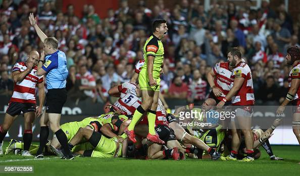 Ben Youngs of Leicester celebrates as Leicester Tigers score a last minute match winning push over try during the Aviva Premiership match between...