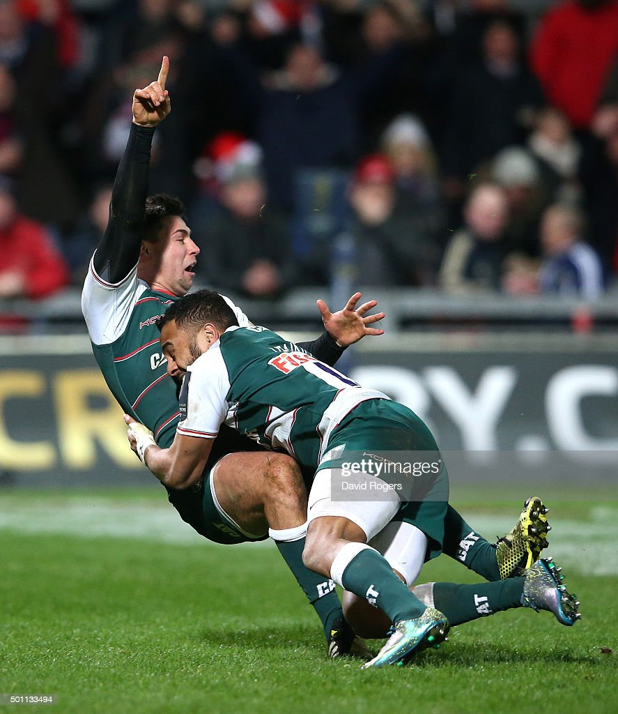 <a gi-track='captionPersonalityLinkClicked' href=/galleries/search?phrase=Ben+Youngs&family=editorial&specificpeople=3970947 ng-click='$event.stopPropagation()'>Ben Youngs</a> (L) of Leicester celebrates with team mate <a gi-track='captionPersonalityLinkClicked' href=/galleries/search?phrase=Telusa+Veainu&family=editorial&specificpeople=7061367 ng-click='$event.stopPropagation()'>Telusa Veainu</a> after scoring their third try during the European Rugby Champions Cup match between Munster and Leicester Tigers at Thomond Park on December 12, 2015 in Limerick, Ireland.