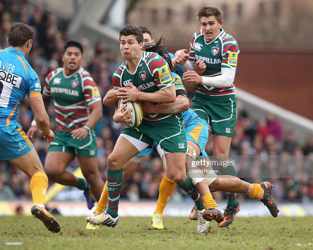 <a gi-track='captionPersonalityLinkClicked' href=/galleries/search?phrase=Ben+Youngs&family=editorial&specificpeople=3970947 ng-click='$event.stopPropagation()'>Ben Youngs</a> of Leicester charges upfield during the Aviva Premiership match between Leicester Tigers and London Wasps at Welford Road on April 14, 2013 in Leicester, England.