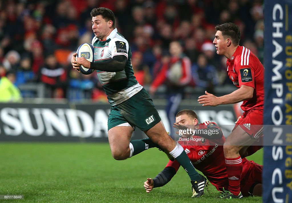Ben Youngs of Leicester dives to score their third try during the European Rugby Champions Cup match between Munster and Leicester Tigers at Thomond Park on December 12, 2015 in Limerick, Ireland.