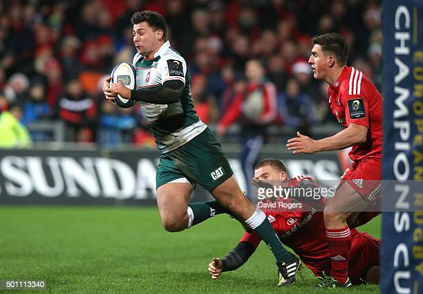 Ben Youngs of Leicester dives to score their third try during the European Rugby Champions Cup match between Munster and Leicester Tigers at Thomond...