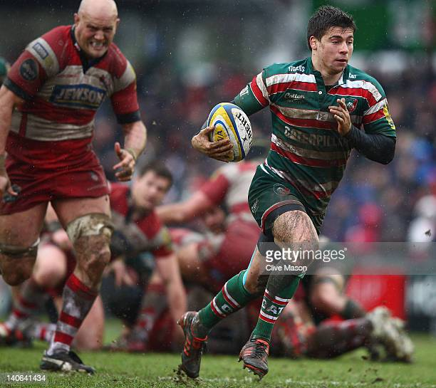 Ben Youngs of Leicester Tigers breaks through to score a try during the Aviva Premiership match between Leicester Tigers and Gloucester at Welford...
