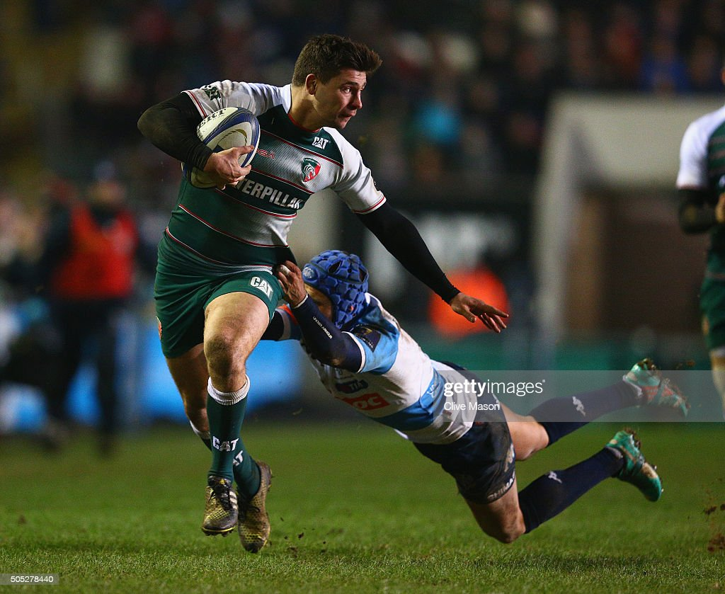 Ben Youngs of Leicester Tigers breaks through to score a try during the European Rugby Champions Cup match between Leicester Tigers and Benetton Treviso at Welford Road on January 16, 2016 in Leicester, England.