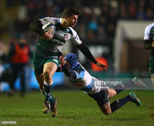 Ben Youngs of Leicester Tigers breaks through to score a try during the European Rugby Champions Cup match between Leicester Tigers and Benetton...
