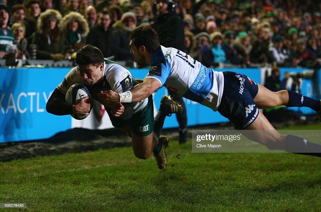 <a gi-track='captionPersonalityLinkClicked' href=/galleries/search?phrase=Ben+Youngs&family=editorial&specificpeople=3970947 ng-click='$event.stopPropagation()'>Ben Youngs</a> of Leicester Tigers dives over the line to score a try during the European Rugby Champions Cup match between Leicester Tigers and Benetton Treviso at Welford Road on January 16, 2016 in Leicester, England.