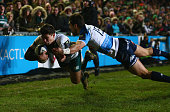 Ben Youngs of Leicester Tigers dives over the line to score a try during the European Rugby Champions Cup match between Leicester Tigers and Benetton...