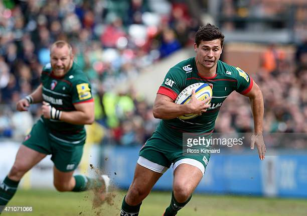 Ben Youngs of Leicester Tigers goes over to score the opening try during the Aviva Premiership match between Leicester Tigers and London Welsh at...
