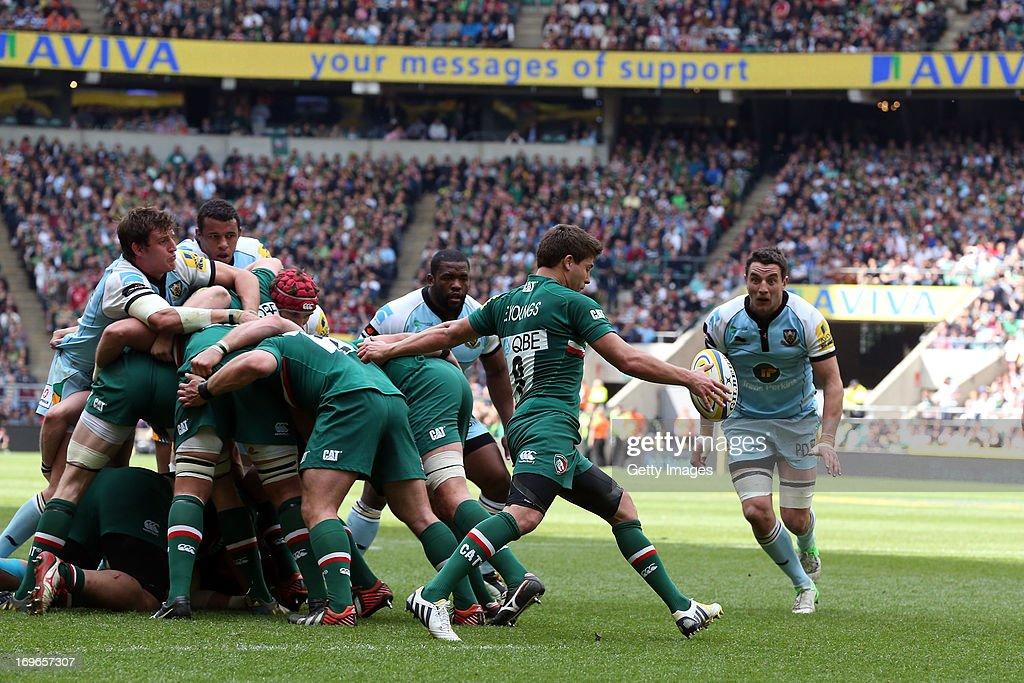 Ben Youngs of Leicester Tigers kicks during the Aviva Premiership Final between Leicester Tigers and Northampton Saints at Twickenham Stadium on May 25, 2013 in London, England.