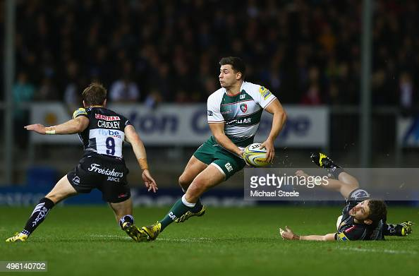 Ben Youngs of Leicester Tigers looks to offload as Will Chudley and Luke CowanDickie of Exeter Chiefs close in during the Aviva Premiership match...