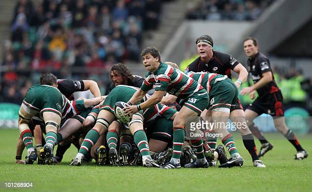Ben Youngs of Leicester Tigers passes the ball during the Guinness Premiership Final between Leicester Tigers and Saracens at Twickenham Stadium on...