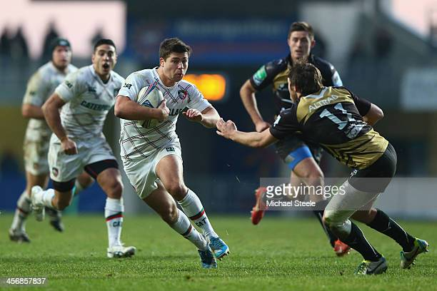Ben Youngs of Leicester Tigers runs at Yohann Artru of Montpellier during the Heineken Cup Pool 5 match between Montpellier and Leicester Tigers at...